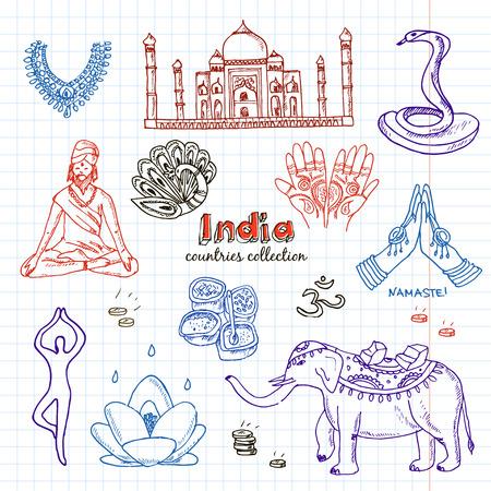 Hand Drawn Doodle India Symbols Set Sketchy Icons Set Travel