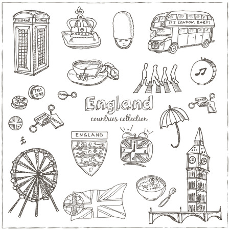 Hand drawn doodle England symbols set . Sketchy Icons set. Travel  Collection. Isolated vector illustration.