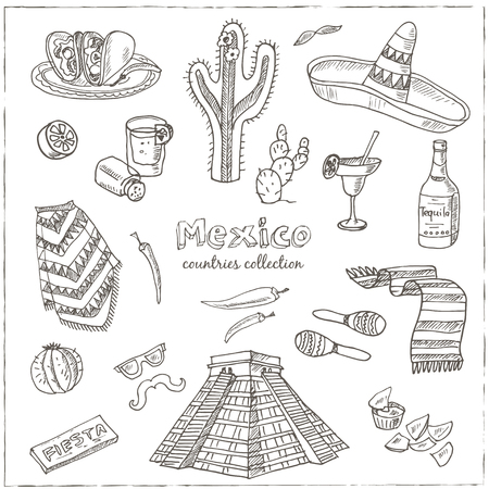 poncho: Hand drawn doodle Mexico symbols set. Sketchy Icons set. Travel  Collection. Isolated vector illustration.