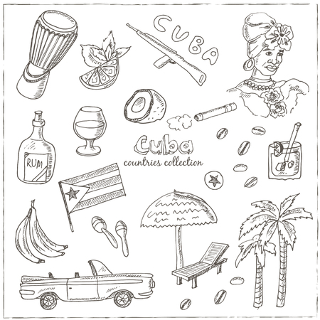 car flag: Hand drawn doodle Cuba travel set. Sketchy Icons set with Rum, palms, car, flag. Travel  Collection. Isolated vector illustration.