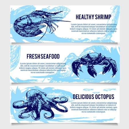 fresh seafood: Set of vintage Seafood banners. Good as a template of advertisement or invitation.  Vector illustration Illustration