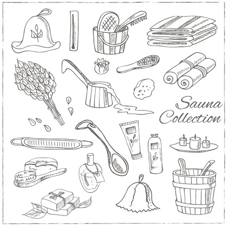 finnish bath: Sauna accessories doodle set. Sketch. Hand drawn spa items collection. Vector illustration  for design menus, recipes and packages product. Illustration