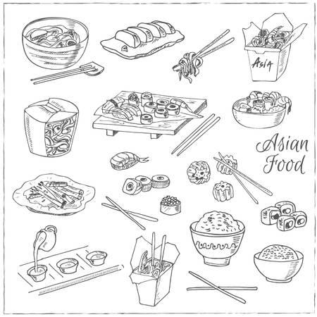Cibo asiatico. Decorativi cinesi icone alimentari specificate. Illustrazione di vettore per i menu di progettazione, ricette e pacchetti di prodotto. Archivio Fotografico - 55642593