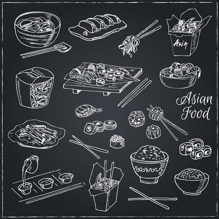 Asian Food. Decorative chinese food icons set. Vector illustration for design menus, recipes and packages product. Banco de Imagens - 55642595