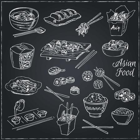Aziatisch eten. Decoratieve Chinees eten iconen set. Vector illustratie voor het ontwerp menu's, recepten en pakketten product. Stockfoto - 55642595