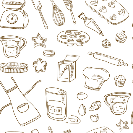 Baking Tools Seamless pattern. Hand drawn collection. Vector illustration  for design menus, recipes and packages product. Ilustrace