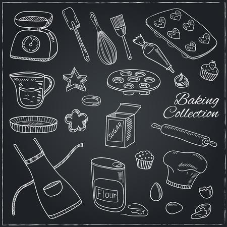 Set Back Tools. Hand gezeichnet Sammlung. Vektor-Illustration für Design-Menüs, Rezepte und Produktpakete.