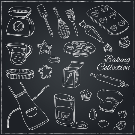 Set of Baking tools. Hand drawn collection. Vector illustration  for design menus, recipes and packages product.