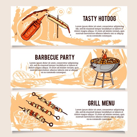 grilling: Set of vintage Barbecue Horizontal banners. Good as a template of advertisement or invitation.  Vector illustration Illustration