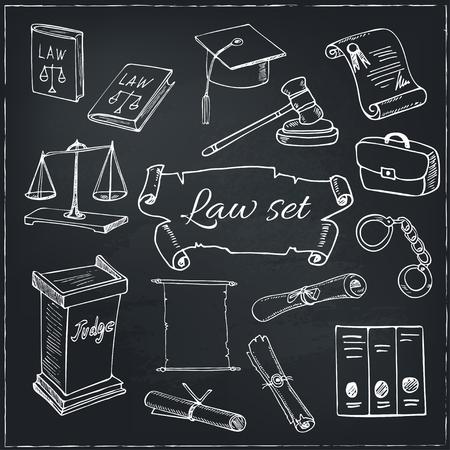Hand getrokken wet symbolen set met Bijbel, schalen, handboeien, hamer en elementen van rechters kleding. Geïsoleerde vector illustratie voor het ontwerp, decoratie, pakketten product en interieurdecoratie