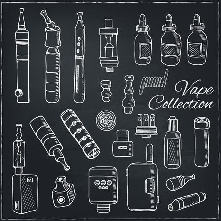 e cig: Set of Vaping icons in sketch style on black background. Vape vector illustration. Vape trend. Illustration of Electronic cigarette. E-cig icons set Illustration