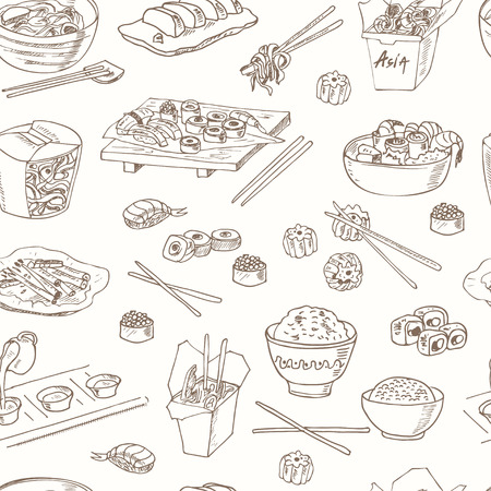 fried noodles: Asian Food. Decorative chinese food seamless pattern. Vector illustration for design menus, recipes and packages product. Illustration
