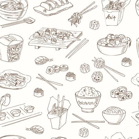Nourriture asiatique. chinese food Decorative seamless pattern. Vector illustration pour les menus de conception, des recettes et des forfaits produit. Vecteurs