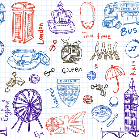 queens jubilee: Hand drawn doodle England symbols seamless pattern Travel  Collection.