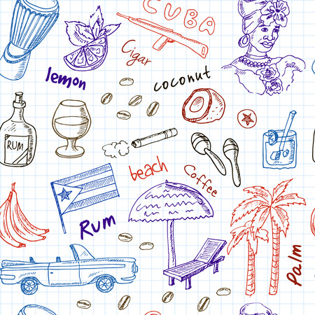 cuban cigar: Hand drawn doodle Cuba travel seamless pattern  with Rum, palms, car, flag. Travel  Collection.