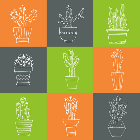 exotic plant: Hand drawn Set of Cactus in the pots. Isolated vector illustration for identity, design, decoration, packages product and interior decoration