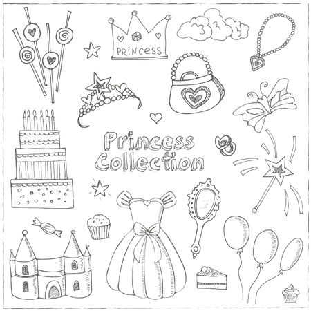 castle interior: Fairy Tale Princess set Tiara Crown castle dress. Isolated vector illustration for identity, design, decoration, packages product and interior decoration