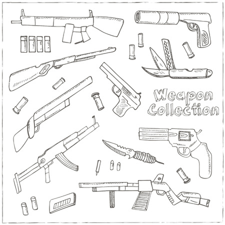 ingram: Hand drawn set  of Weapons.  Isolated vector illustration for identity, design, decoration, packages product and interior decoration Illustration