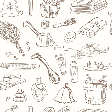 finnish bath: Sauna accessories doodle seamless pattern. Sketch. Hand drawn spa items collection. Vector illustration  for design menus, recipes and packages product. Illustration