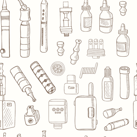substitute: seamless pattern of Vaping icons in sketch style on black background. Vape vector illustration. Vape trend. Illustration of Electronic cigarette. E-cig icons set Illustration
