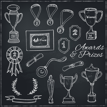 Set of decorative sketch Award with trophy, medal, winner prize, champion cup, ribbon. Isolated  Vector illustration.