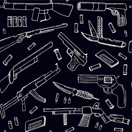 ingram: Hand drawn seamless pattern with Weapons.  Isolated vector illustration for identity, design, decoration, packages product and interior decoration Illustration