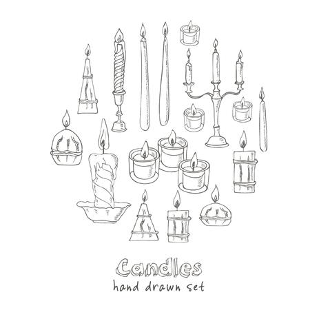 Hand drawn Set of Candles. Sketch. Vector illustration Illustration