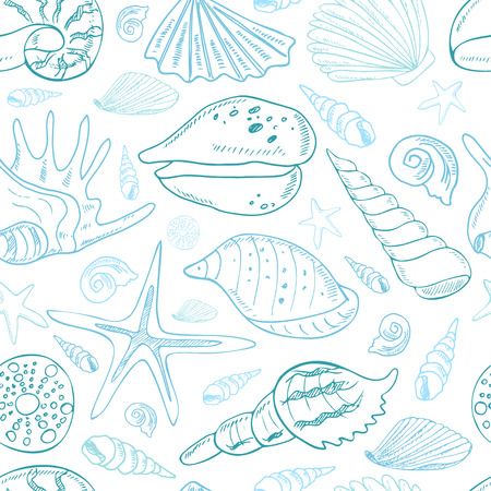 Hand drawn seamless pattern with seashells. Isolated vector illustration for identity, design, decoration, packages product and interior decoration Ilustração