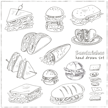 pita bread: Vector Set of sandwiches. Club sandwich cheeseburger hamburger deli wrap roll taco baguette bagel toast. Illustration for menus, recipes and packages product
