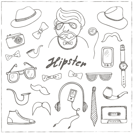 Set of hipster style symbols Sketches. Hand-drawing. Vector illustration of for design and packages product.