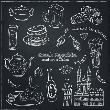 souvenirs: Hand drawn doodle Czech Republic travel set.  Sketchy Icons set. Travel Collection. Isolated vector illustration. Illustration