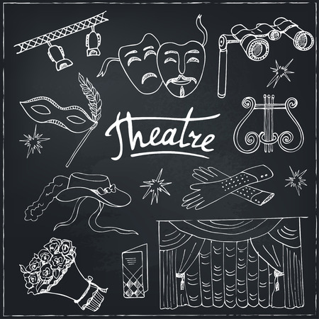 rehearsal: Hand drawn doodle Theater set Masks Lyra Flowers Curtain stage Sketches. Hand-drawing. Vector illustration of for design and packages product.