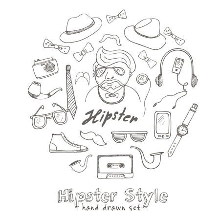 pipe dream: Set of hipster style symbols Sketches. Hand-drawing. Vector illustration of for design and packages product.