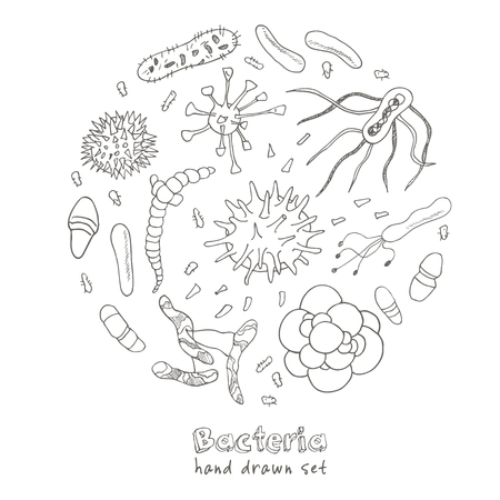 contaminant: Bacteria virus icons set. Sketches. Hand-drawing. Vector illustration of for design and packages product.