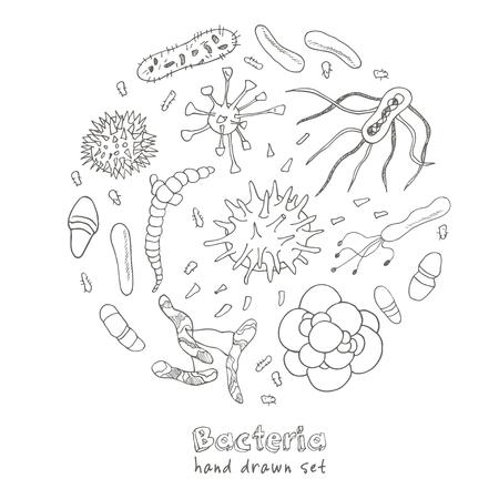 Bacteriën virus iconen set. Sketches. Hand-tekening. Vector illustratie voor het ontwerp en pakketten product.