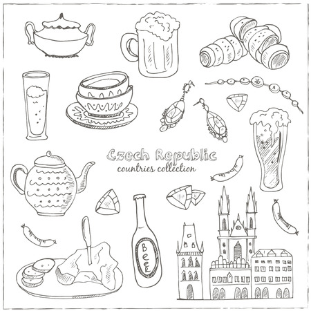 impostare a mano doodle disegnati viaggio Repubblica Ceca. Le icone Sketchy set. Collezione di viaggio. illustrazione vettoriale isolato.