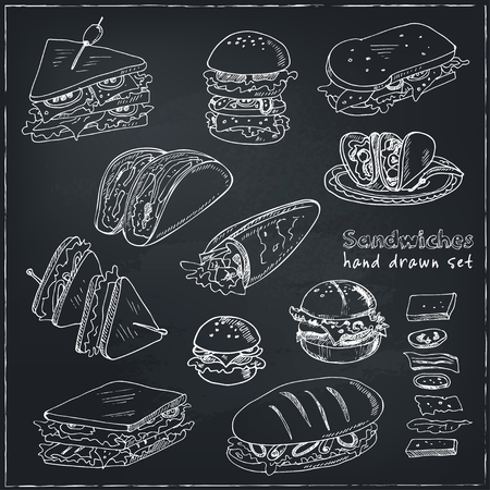 deli sandwich: Vector Set of sandwiches. Club sandwich cheeseburger hamburger deli wrap roll taco baguette bagel toast. Illustration for menus, recipes and packages product