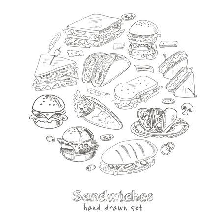 Vector Set van broodjes. Club sandwich hamburgerkarakter deli wrap roll taco baguette bagel toast. Illustratie voor menu's, recepten en pakketten product