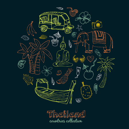Hand drawn doodle Thailand travel set. Sketchy Icons set. Travel Collection. Isolated vector illustration. Vector Illustration