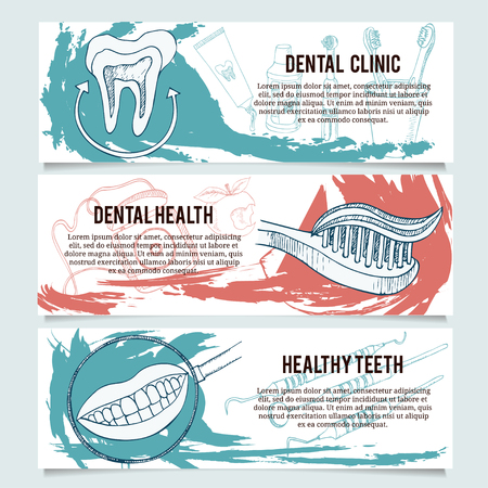 irrigator: Dental banners or website header set. Tooth toothbrush toothpaste healthy tooth irrigator tooth brushes tooth paste mouth wash interspace dental floss. Illustration