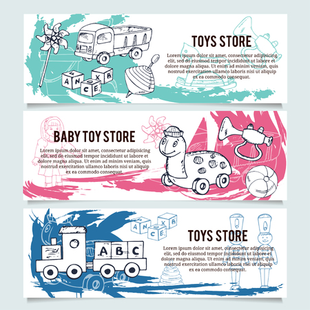 mexican boys: Children toys store banners or website header set. Baby and kid store insignia template