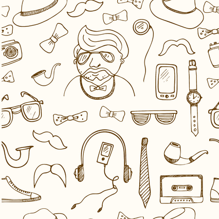 pipe dream: hipster style seamless pattern Sketches. Hand-drawing. Vector illustration of for design and packages product.