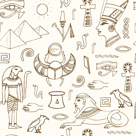 hieroglyphs: Egypt symbols seamless pattern Sketches. Hand-drawing. Vector illustration of for design and packages product.