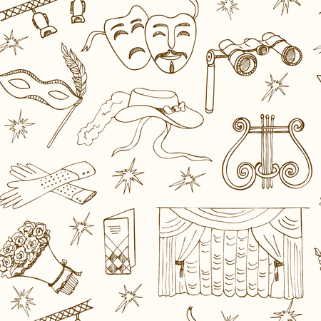 lyra: Hand drawn doodle Theater seamless patternMasks Lyra Flowers Curtain stage Sketches. Hand-drawing. Vector illustration of for design and packages product.