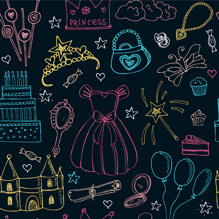 castle interior: Fairy Tale Princess seamless pattern Tiara Crown castle dress. Isolated vector illustration for identity, design, decoration, packages product and interior decoration