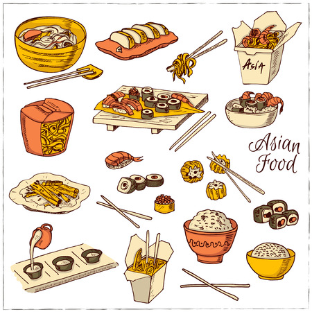 dim: Asian Food. Decorative chinese food icons set. Vector illustration for design menus, recipes and packages product.
