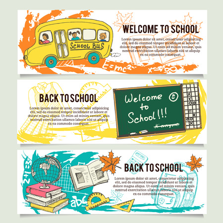 school class: Back to school banners or website header set. Tooth, toothbrush, toothpaste, healthy tooth,tooth brushes, tooth paste, mouth wash, dental floss.