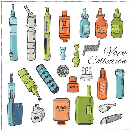 substitute: Set of Vaping icons in sketch style on black background. Vape vector illustration. Vape trend. Illustration of Electronic cigarette. E-cig icons set Illustration