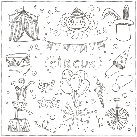 Hand drawn sketch circus icons. Vector illustration of circus for design and packages product. Reklamní fotografie - 58019539