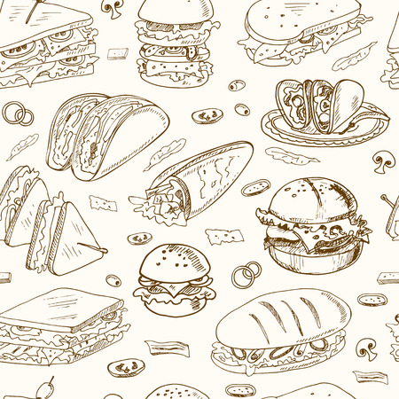 deli sandwich: Vector sandwiches seamless pattern Club sandwich cheeseburger hamburger deli wrap roll taco baguette bagel toast. Illustration for menus, recipes and packages product